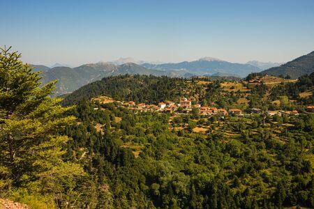 evritania: Scenic cityview at mountain village of Fidakia, Evritania, Greece Stock Photo