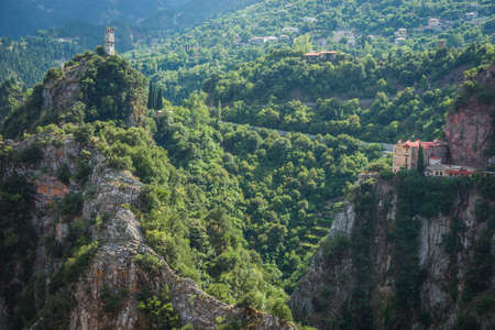 karpenisi: Scenic mountain  landscape with  monastery in Prusos in Evritania, Greece Stock Photo