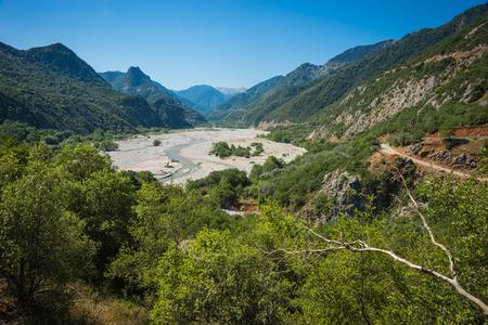 karpenisi: Scenic mountain  landscape with Krikeliotis river at Evritania in Greece Stock Photo