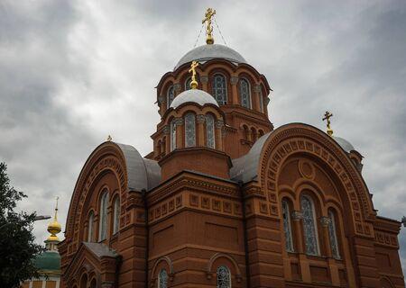 Scenic image of St. Nicholas Cathedral Pokrovsky Khotkov Monastery of Trinity Sergius Lavra, Russia Stock Photo