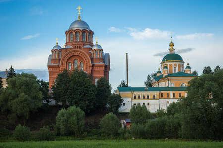 Scenic image of Pokrovsky Khotkov Monastery of Trinity Sergius Lavra in Russia