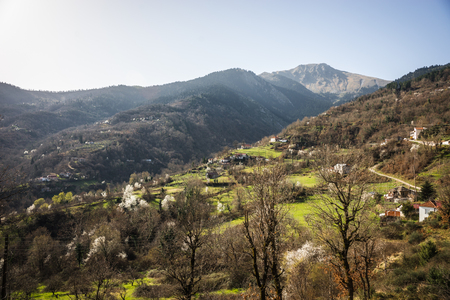 Image of sliding village Ropoto after a landslide in Greece Stock Photo