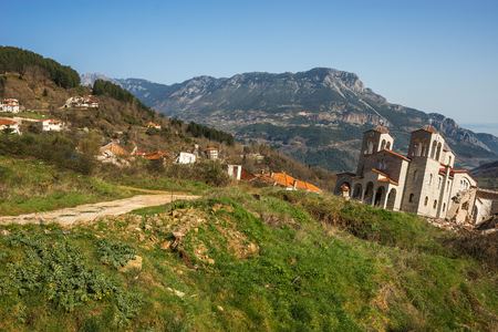 Image of sliding village Ropoto after a landslide in Greece Stock Photo
