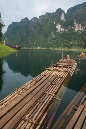 Scenic and unique landscape with bamboo rafts at Chieou Laan lake in Thailand