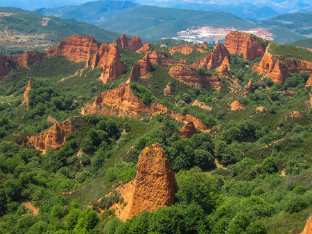 Landscape with beutiful and unique red rock formations at Las Madulas in Spain Reklamní fotografie