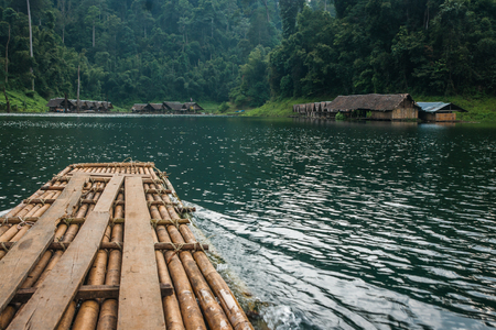 Scenic and unique landscape with floating houses at Chieou Laan lake, Thailand