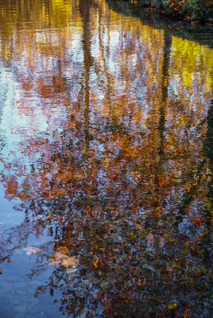crus: Autumn landscape with colorful leaves, river and reflections in water in Caravaca de la Crus, Spain Stock Photo