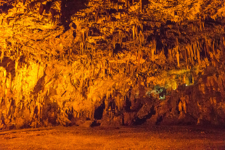stalagmites: Picturesque stalactites and stalagmites in a cave Drongati on the island of Kefalonia in Greece