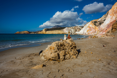 Beautiful natural colors of Firiplaka beach, Milos, Greece