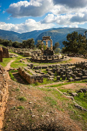 delphi: Image of Ruins of an ancient greek temple of Apollo at Delphi, Greece