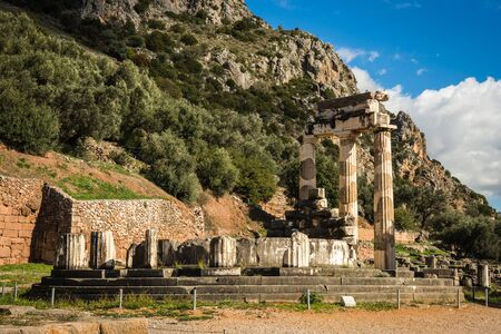 Image of Ruins of an ancient greek temple of Apollo at Delphi, Greece