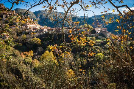 Scenic mountain autumn landscape with  village Langadia, Peloponnese in  Greece