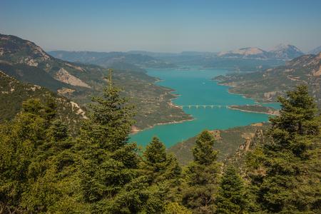 karpenisi: Scenic view from the mountain to Kremaston lake in  Evritania, Greece