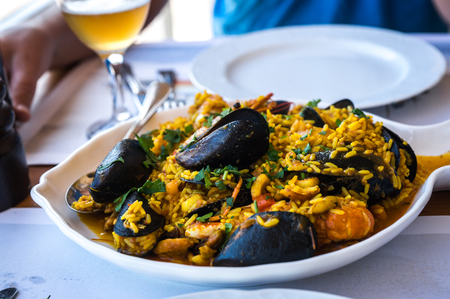 Image of seafood risotto with mussels and shrimp, Greece Stock Photo