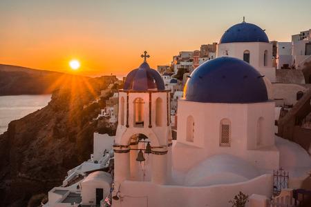 Image of Blue dome of white church in Oia, Santorini, Greece