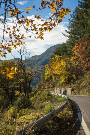 Scenic mountain autumn landscape near  village Langadia, Peloponnese in  Greece