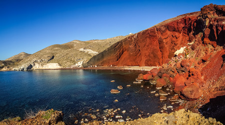 Image of unusual and unique Red beach on Santorini, Greece