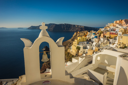 Image of white and blue church in Oia, Santorini, Greece