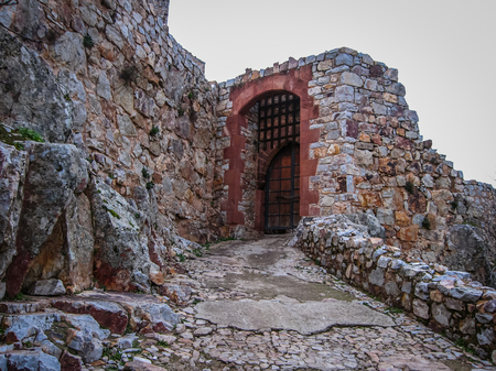 Ruins of New Calatrava Castle near Ciudad Realin Castilla la Mancha in  Spain Stock Photo