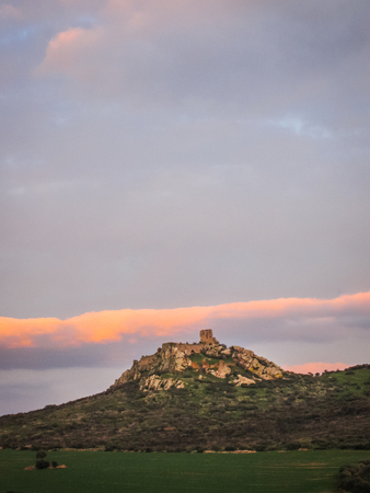 mancha: Ruins of New Calatrava Castle near Ciudad Realin Castilla la Mancha in  Spain Stock Photo