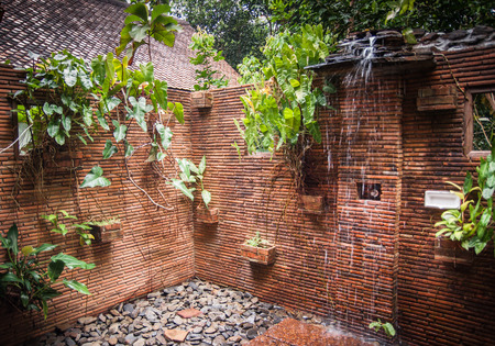 Internal image of shower rooms in the guesthouse of Khao Sok sanctuary, Thailand Stock Photo