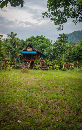 Scenic view of a traditional multicolored wooden house of local people on a meadow of the rain forest of Khao Sok sanctuary, Thailand Stock Photo
