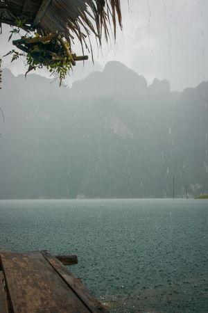 Calm rainy landscape at Chieou Laan lake in Thailand