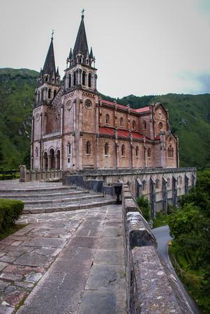 Image of beautiful church at Covadonga in Asturia in Spain