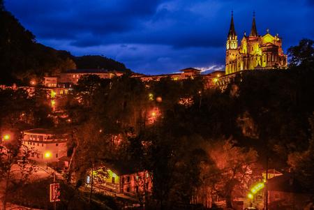 Night image of beautiful church at Covadonga in Asturia in Spain