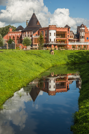 Area for walking with a water moat at   Lithuanian shaft in Kaliningrad, Russia