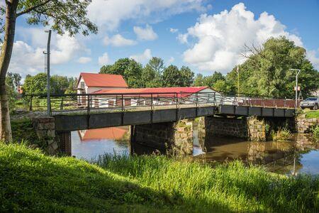 Image of old adjustable stone bridge in the Kaliningrad region, Russia