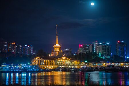 Night view of the port of Sochi illuminated by the lights in Russia Stock Photo