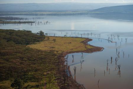 nakuru: Scenic view to lake Nakuru from view point on the hill in Kenia Stock Photo