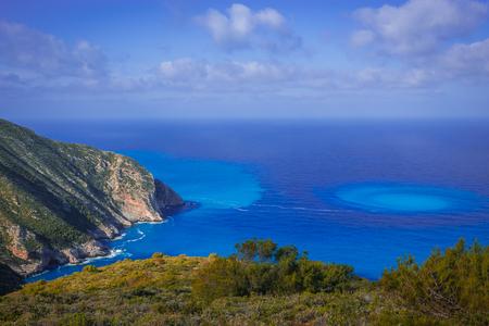 Seascape with blue swirls  on the island of Zakynthos in Greece