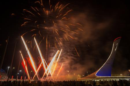 Sochi, Russia - August 04, 2017, Fireworks in Sichi park in Adler, Russia