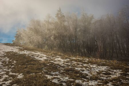Landscape with icy rain on Mount Ai Petri in the Crimea in Russia Stock Photo