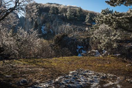 Landscape with icy rain on Mount Ai Petri in the Crimea in Russia Stock Photo