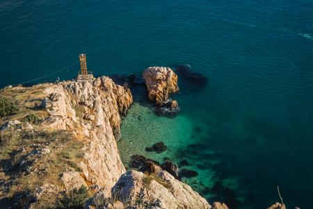 Scenic seascape in Balaklava Bay in Crimea in Russia Stock Photo