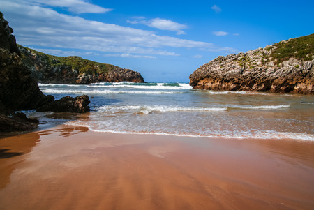 Unique rare beauty beach Poo in Asturias and Cantabria in Spain Stock Photo