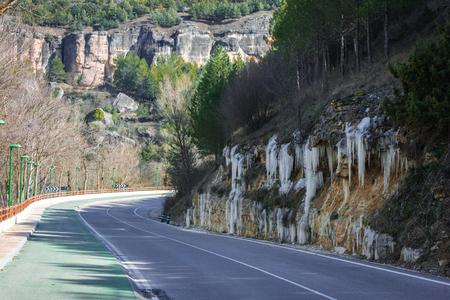 Icicles on the roadside near Cuenca in Castilla la Mancha in Spain