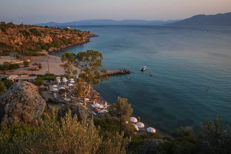 Landscape with sea bay on island of Aegina in Saronic Gulf in Greece Banco de Imagens