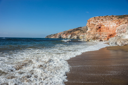 Beautiful natural colors of Palephori beach, Milos in Greece