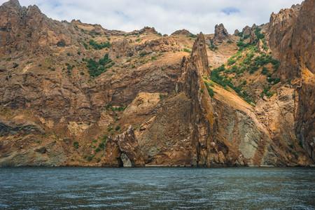 Image of Seascape near Koktebel with mountain Karadag in Crimea