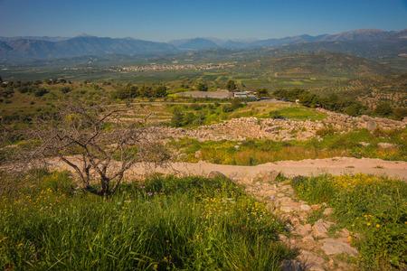 Ruins of ancient Greek buildings in Mycenae on Peloponnese in Greece Banco de Imagens