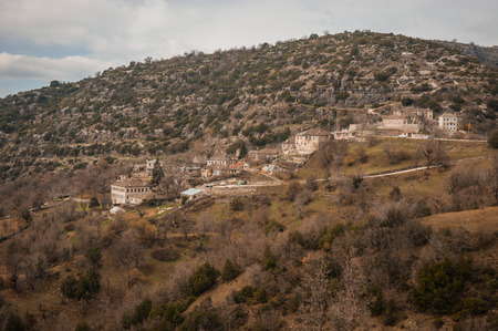 Beautiful winter landscape in mountains of Zagorohoria in Greece