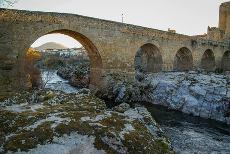 Picturesque landscape with medieval bridge over Tormes River in Castilla y Leon in Spain