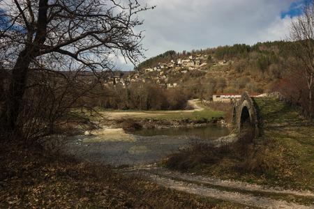 Image of ancient snone bridge  in Zagorohoria, Greece Stock Photo