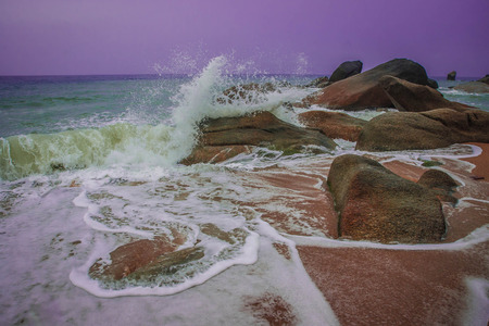 Beautiful seascape with rocks at Lamai beach on Samui island in Thailand