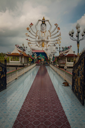 Wat Plai Laem temple with eighteen hands God statue (Guanyin) at Koh Samui in  Surat Thani in Thailand. Archivio Fotografico