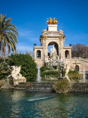 Fountain Cascada in Ciudadela Park in Barcelona in Spain Stock Photo